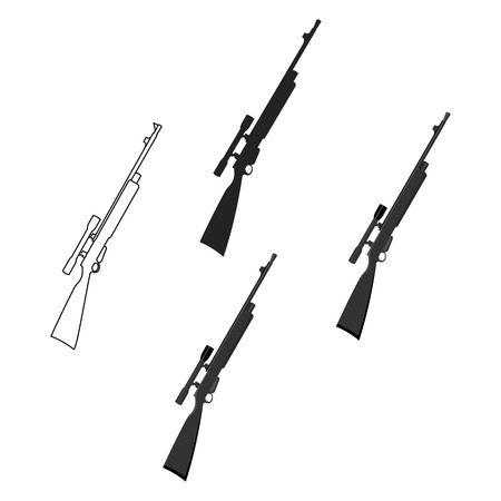 Rifle sniper gun icon cartoon. Single weapon icon from the big ammunition, arms set.