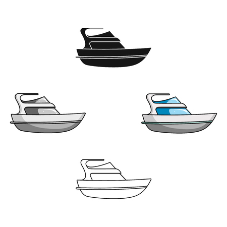 Expensive yacht for rich people.Yacht for vacations and short trips.Ship and water transport single icon in cartoon style vector symbol stock illustration.