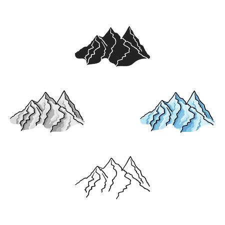 Mountain range icon in cartoon style isolated on white background. Ski resort symbol stock vector illustration. Ilustração