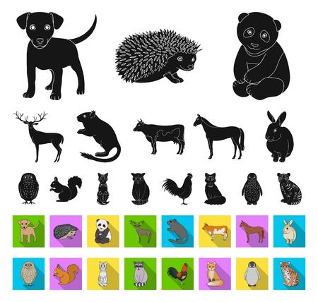 Animaux réalistes noirs, icônes plates dans la collection de jeu pour la conception. Animaux sauvages et domestiques symbole vecteur illustration web stock. Vecteurs