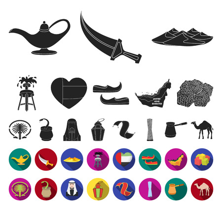 Country United Arab Emirates black,flat icons in set collection for design. Tourism and attraction vector symbol stock web illustration. Illustration