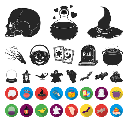 black,flat and white magic black,flat icons in set collection for design. Attributes and sorceress accessories vector symbol stock web illustration. Illustration