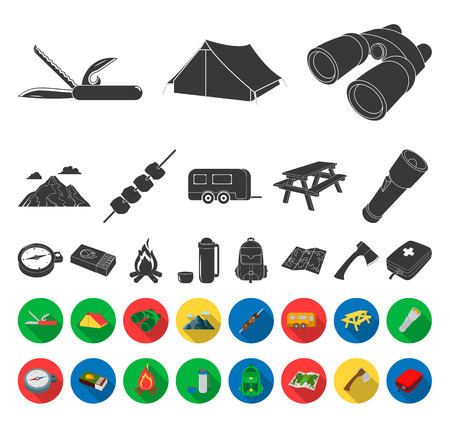 Rest in the camping black,flat icons in set collection for design. Camping and equipment vector symbol stock web illustration.