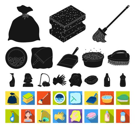 Icone nere e piatte di pulizia e cameriera nella raccolta di set per il design. Attrezzature per la pulizia simbolo d'archivio web di vettore. Vettoriali