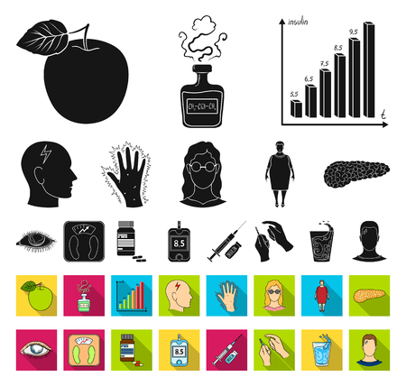 Diabetes black,flat icons in set collection for design. Treatment of diabetes vector symbol stock web illustration.