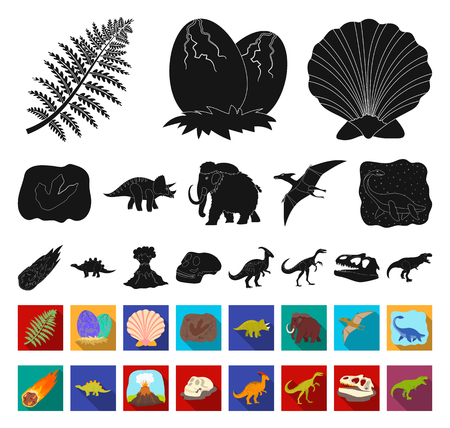 Different dinosaurs black,flat icons in set collection for design. Prehistoric animal vector symbol stock web illustration. Illusztráció