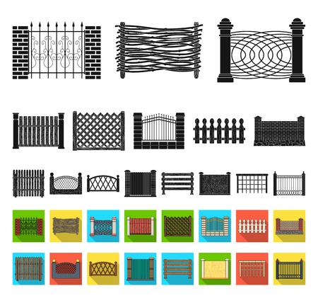 Different fence black,flat icons in set collection for design.Decorative fencing vector symbol stock web illustration. Illusztráció