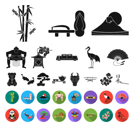 Country Japan black,flat icons in set collection for design.Japan and landmark vector symbol stock web illustration.