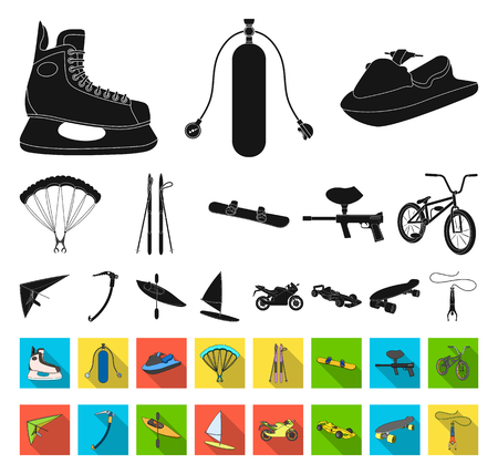 Extreme sport black,flat icons in set collection for design.Different kinds of sports vector symbol stock web illustration.