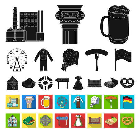 Country Germany black,flat icons in set collection for design. Germany and landmark vector symbol stock web illustration.