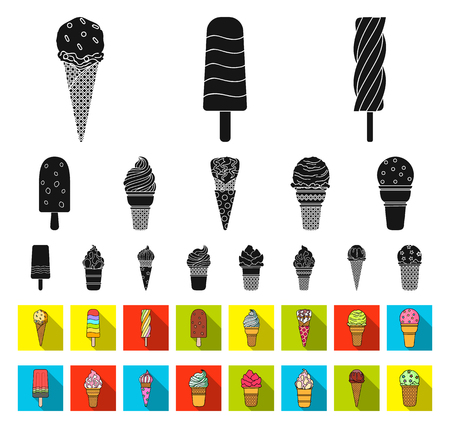 Different ice cream black,flat icons in set collection for design. Dessert and sweetness vector symbol stock web illustration.
