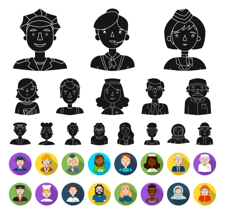 People of different professions black,flat icons in set collection for design. Worker and specialist vector symbol stock web illustration.