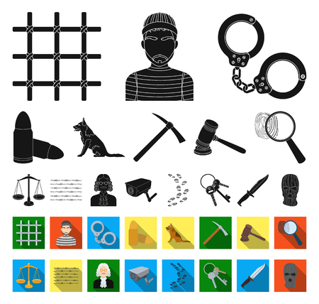 Prison and the criminal black,flat icons in set collection for design.Prison and Attributes vector symbol stock illustration. Stock Illustratie