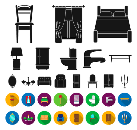 Furniture and interior black,flat icons in set collection for design.Home furniture vector symbol stock web illustration.