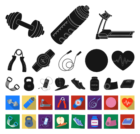 Gym and training black,flat icons in set collection for design. Gym and equipment vector symbol stock illustration. Vetores