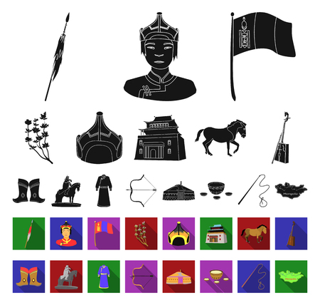 Country Mongolia black,flat icons in set collection for design.Territory and landmark vector symbol stock web illustration.