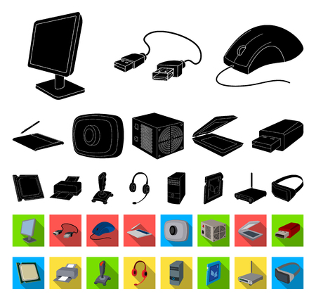 Personal computer black,flat icons in set collection for design. Equipment and accessories vector symbol stock web illustration.
