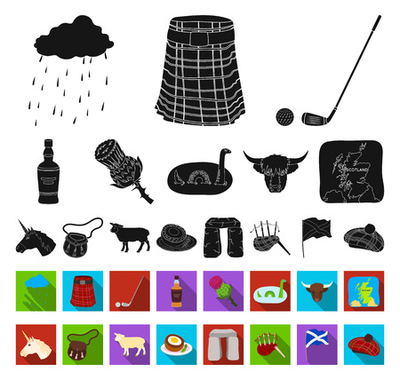 Land Schottland schwarz, flache Symbole in Set-Kollektion für Design. Sightseeing-, Kultur- und Traditionsvektorsymbolvorrat-Netzillustration. Vektorgrafik