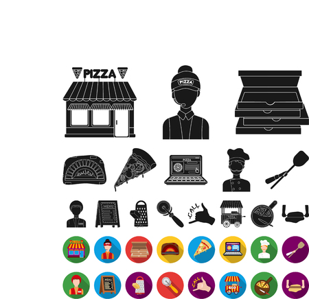 Pizza and pizzeria black,flat icons in set collection for design. Staff and equipment vector symbol stock web illustration.