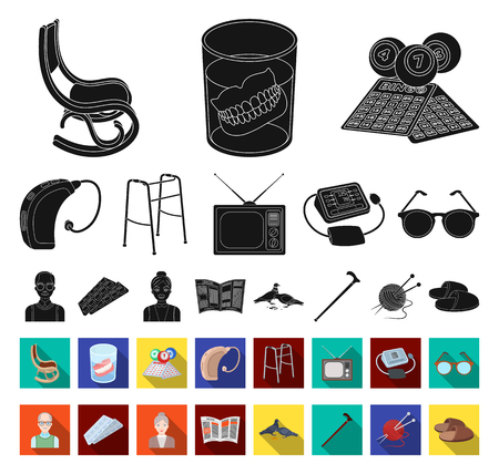 Human old age black,flat icons in set collection for design. Pensioner, period of life vector symbol stock web illustration.