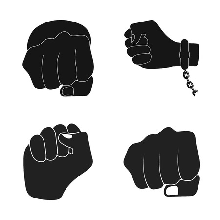 Vector design of fist and punch logo. Set of fist and hand stock symbol for web.