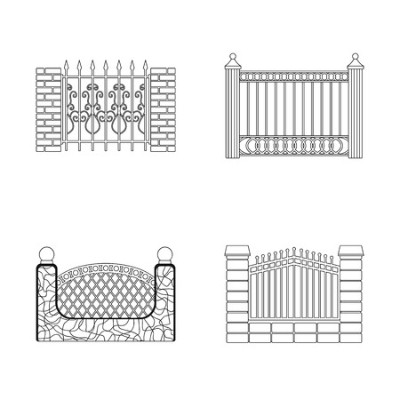 Vector design of gate and fence symbol. Set of gate and wall vector icon for stock.