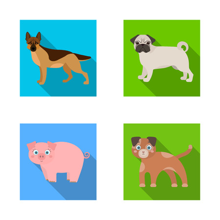 Vector design of animal and habitat sign. Set of animal and farm vector icon for stock.
