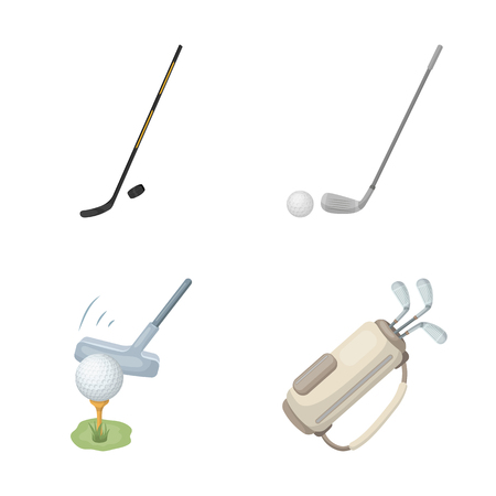 Vector design of stick and field sign. Collection of stick and club vector icon for stock.