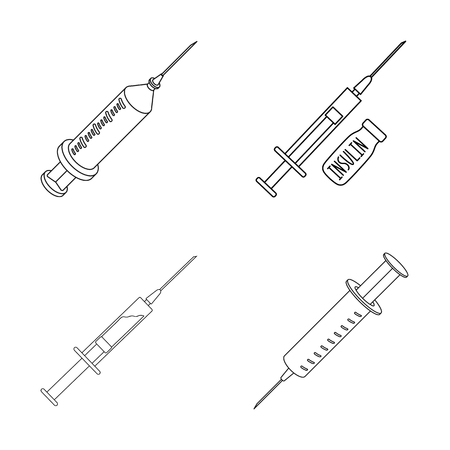 Isolated object of vaccine and syringe sign. Collection of vaccine and antibiotic stock vector illustration.