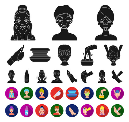 Skin care black,flat icons in set collection for design. Face and body vector symbol stock web illustration.