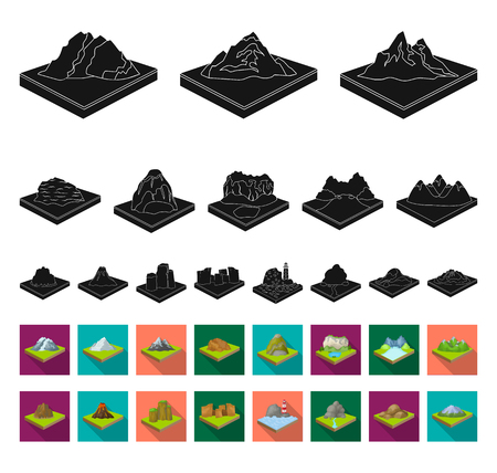 Mountains, massive black,flat icons in set collection for design. The surface of the earth vector isometric symbol stock web illustration.