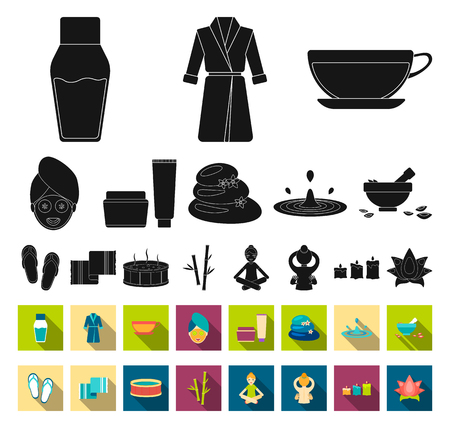Spa salon and equipment black,flat icons in set collection for design. Relaxation and rest vector symbol stock web illustration. Çizim