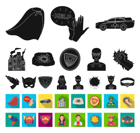 A fantastic superhero black,flat icons in set collection for design. Superheros equipment vector symbol stock web illustration. Illustration