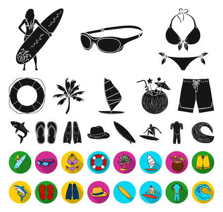 Surfing and extreme black,flat icons in set collection for design. Surfer and accessories vector symbol stock web illustration.