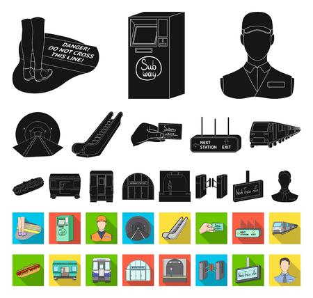 Metro, subway black,flat icons in set collection for design.Urban transport vector symbol stock web illustration. Illustration