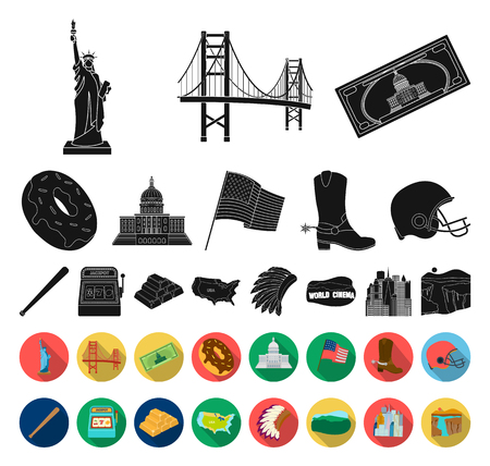 USA country black,flat icons in set collection for design.Travel and attractions vector symbol stock web illustration.