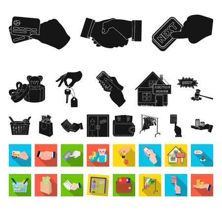 E-commerce and business black,flat icons in set collection for design. Buying and selling vector symbol stock web illustration.