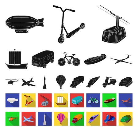 Different types of transport black,flat icons in set collection for design. Car and ship vector symbol stock web illustration. Illustration