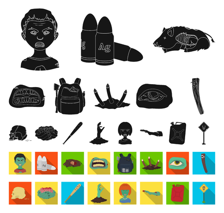 Zombies and Attributes black,flat icons in set collection for design. Dead man vector symbol stock web illustration. Illusztráció