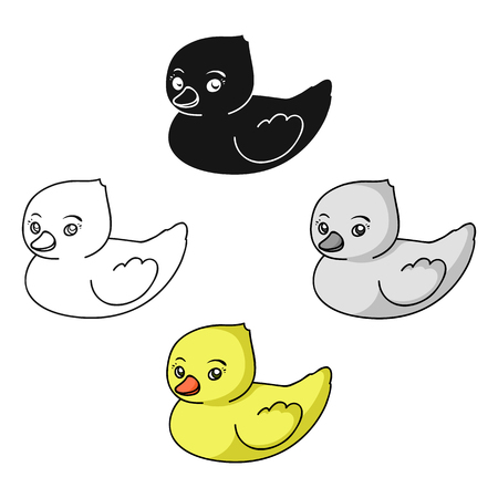 Rubber duck toy icon in cartoon style isolated on white background. Baby born symbol stock vector illustration.