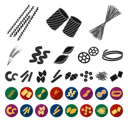 Tipi di pasta nera, icone piatte nella raccolta di set per il design. Maccheroni figurati per mangiare simbolo d'archivio web di vettore.