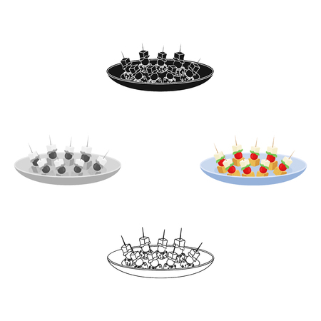 Canape on the plate icon in cartoon style isolated on white background. Event service symbol stock vector illustration.