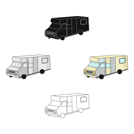 Campervan icon in cartoon style isolated on white background. Family holiday symbol stock vector illustration.