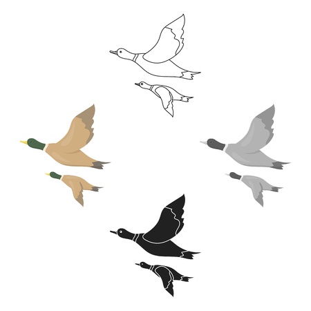Ducks icon in cartoon style isolated on white background. Hunting symbol stock vector illustration.