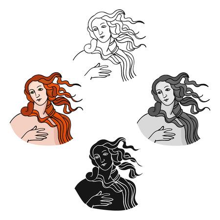 Icono de la diosa italiana del amor en estilo de dibujos animados aislado sobre fondo blanco. Ilustración de vector de valores de símbolo de país de Italia. Ilustración de vector
