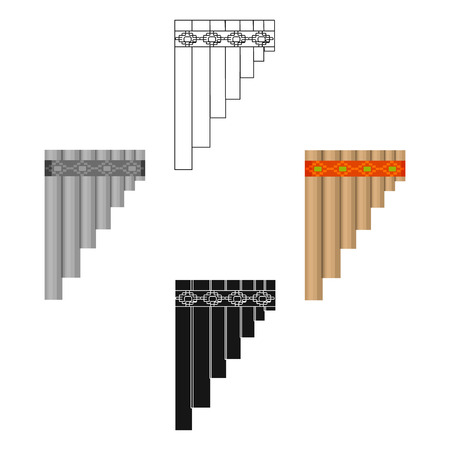 Mexican pan flute icon in cartoon style isolated on white background. Mexico country symbol stock vector illustration. Ilustração