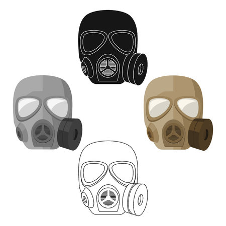 Army gas mask icon in cartoon style isolated on white background. Military and army symbol stock vector illustration