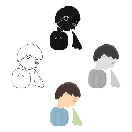 Vomiting icon cartoon. Single vector symbol sick icon from the big ill, disease cartoon.