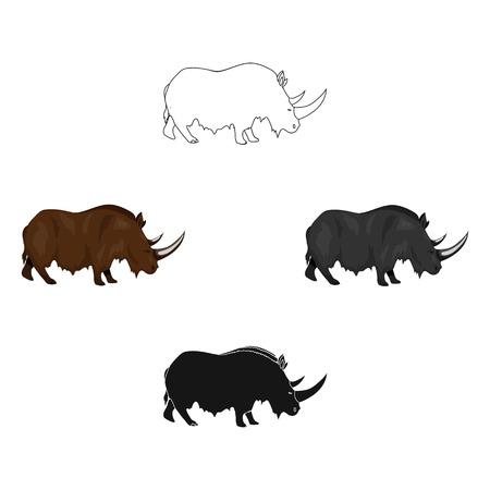 Wolliges Nashorn-Symbol im Cartoon-Stil isoliert auf weißem Hintergrund. Steinzeitsymbolvorrat-Vektorillustration. Vektorgrafik
