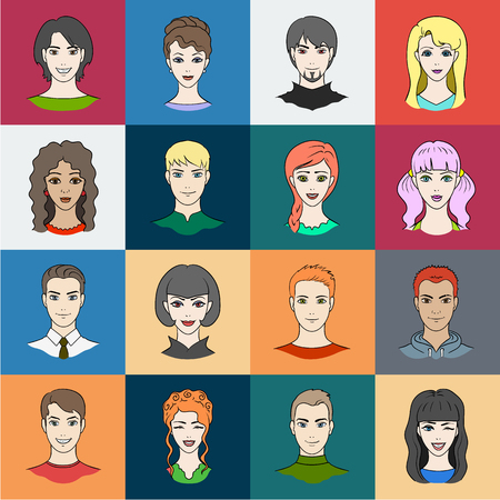 Avatar and face cartoon icons in set collection for design. A persons appearance vector symbol stock illustration. Illustration